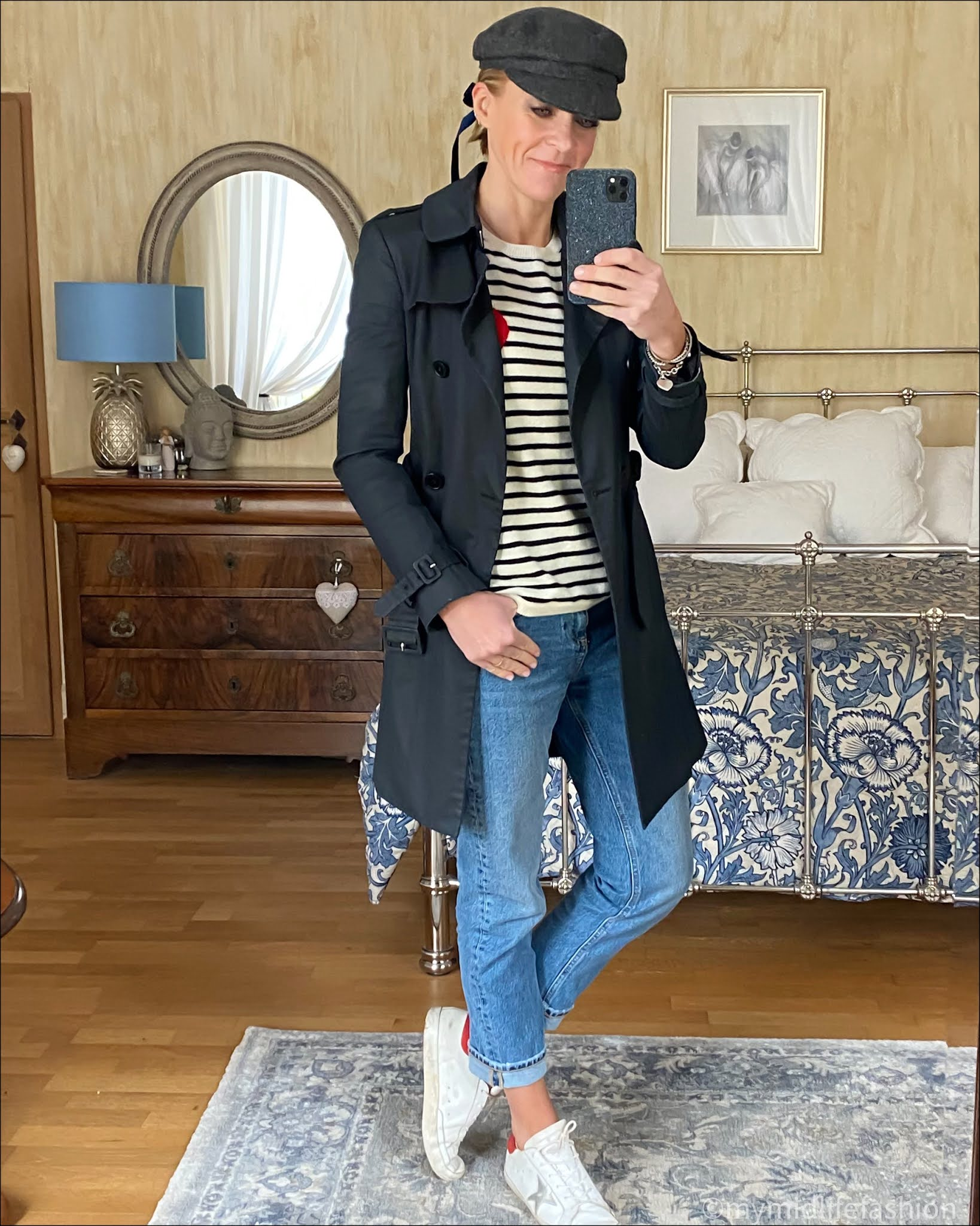 my midlife fashion, Chianti and Parker cream with navy striped heart cashmere sweater, Isabel Marant baker boy cap, Joseph fashion trench coat, zara straight leg jeans, golden goose superstar low top leather trainers