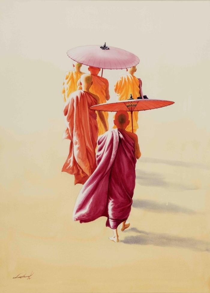 Монахи и монахини в оранжево-коричневых одеждах. Min Wae Aung