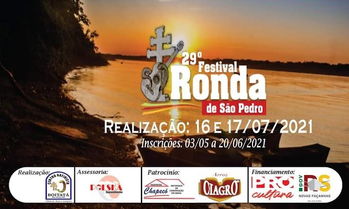 Inscrições para o 29º Festival Ronda de São Pedro poderão ser feitas até o dia 20 de junho