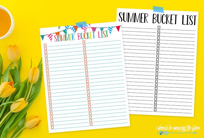 Free Printable Summer Bucket List Template