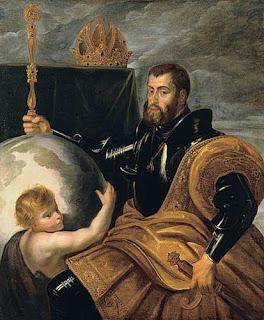 Карл V Габсбург в блеске своего величия - опираясь на весь земной шар :)