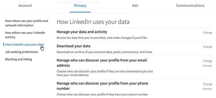 لقطة شاشة لإعدادات خصوصية LinkedIn