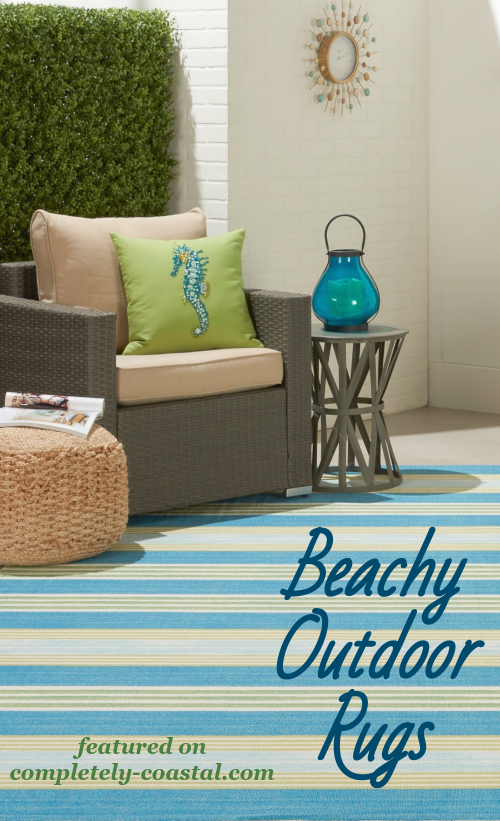 Blue Striped Beachy Outdoor Rug