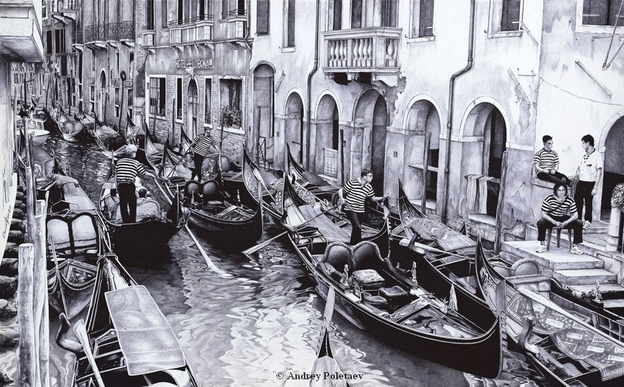 15-Venice-Canal-Andrey-Poletaev-Capturing-Architecture-with-Ballpoint-Pen-Drawings-www-designstack-co