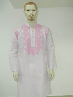 Lucknowi Chikan Men White Pink Kurta
