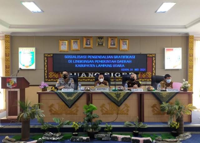 Pemerintah Kabupaten Lampung Utara Menggelar Sosialisasi Pengendalian Gratifikasi Di Lingkungan Pemerintahan Setempat