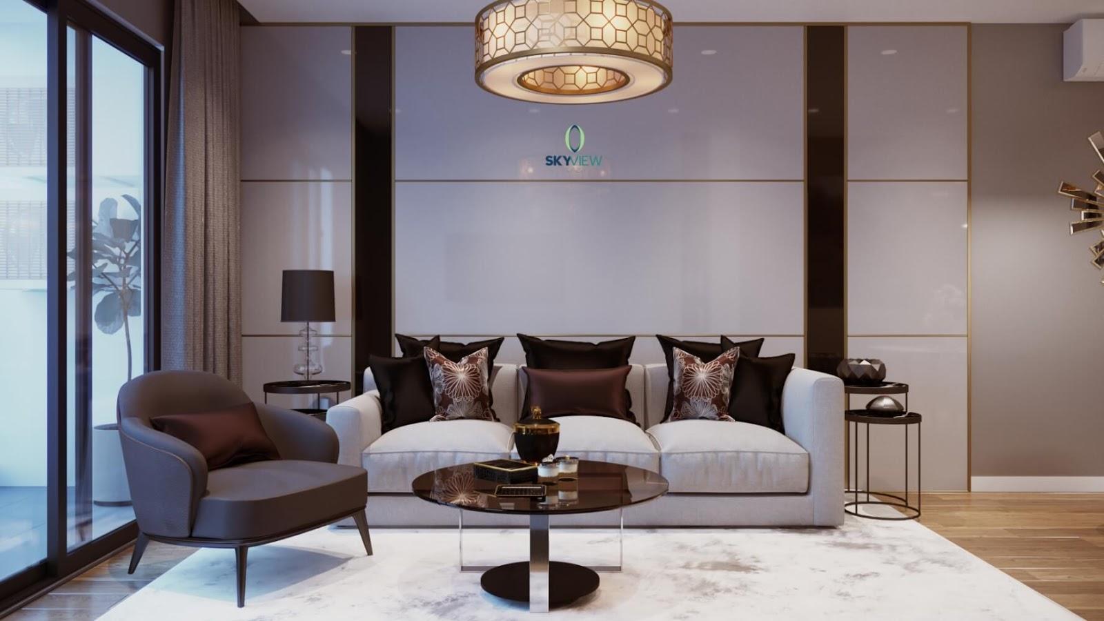 Nội thất hoàn thiện căn hộ mẫu chung cư Sky View Plaza
