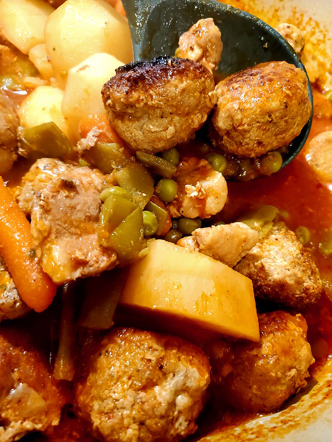this is meatball stew with vegetables