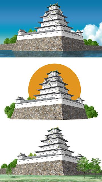 日本の城のストックイラスト