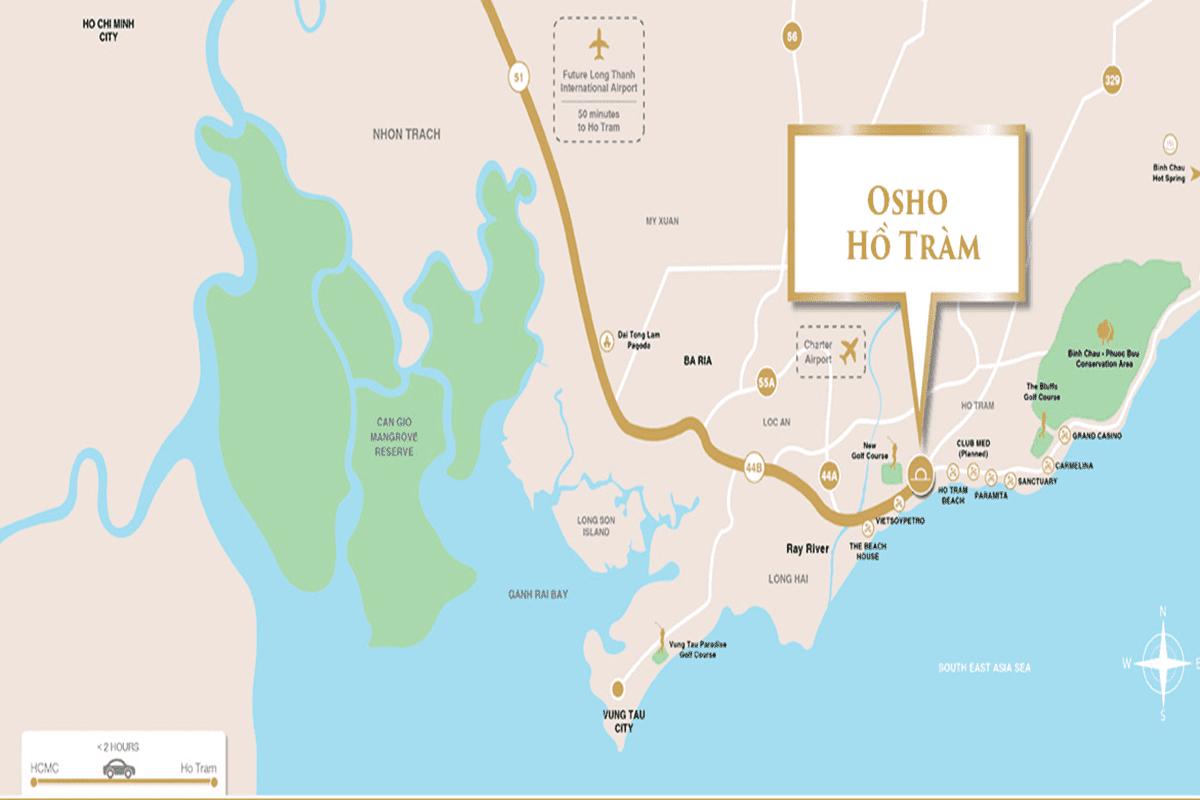 Vị trí dự án Osho Hồ Tràm