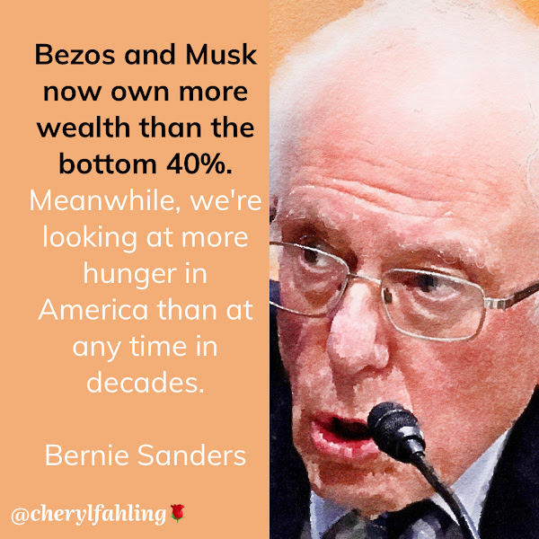 Bezos and Musk now own more wealth than the bottom 40%. Meanwhile, we're looking at more hunger in America than at any time in decades. — Sen. Bernie Sanders
