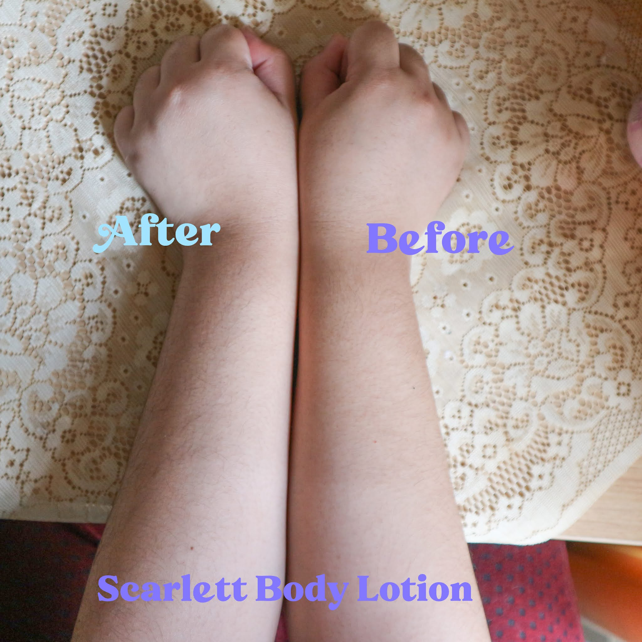 Review Before After Scarlett Body lotion