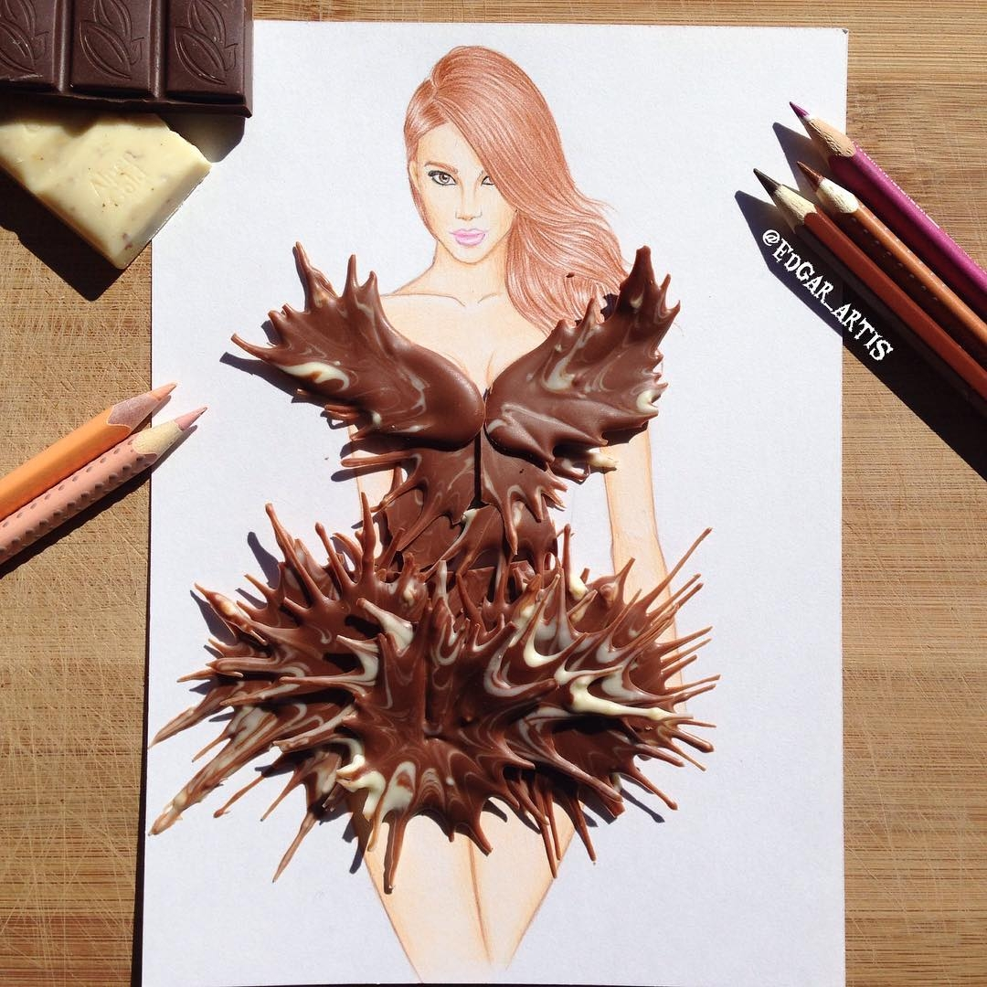 03-Chocolate-Edgar-Artis-Drink-Food-Art-Dresses-and-Gowns-Drawings-www-designstack-co