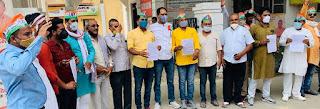 कांग्रेस कार्यकर्ताओं ने जिलाध्यक्ष के नेतृत्व में सौंपा ज्ञापन    #NayaSaberaNetwork