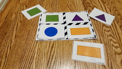 Match It Activity included in the Toddler Travel Activity Kits by Hookster's Ideas includes a custom mat to practice either matching shapes or animals or actions.