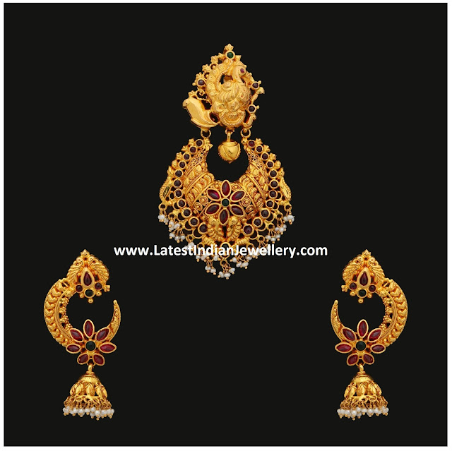 Peacock Chandbali Pendant