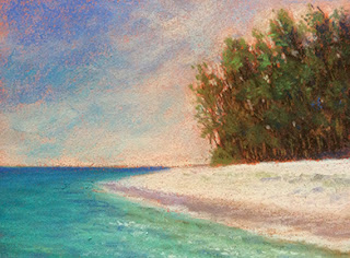 A soft pastel painting of a seashore on Canson Mi Teintes paper, By Manju Panchal