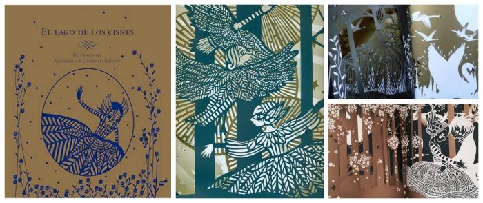 fomentar lectura con cuentos sorprendentes para leer a oscuras: libro troquelado hacer sombras El lago de los cisnes