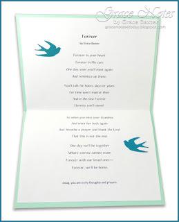 Forever, sympathy card inside, by Grace Baxter