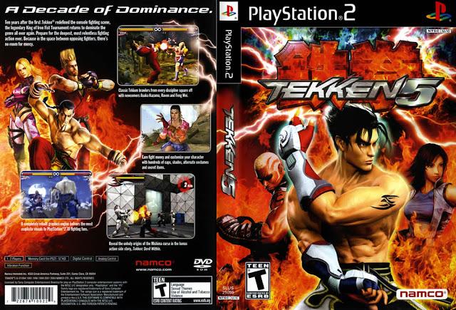 Descargar Tekken 5 ps2 iso NTSC-PAL: Es el sexto juego de Tekken. El juego es acreditado por haber tomado la serie de vuelta a sus raíces. El juego cuenta con 32 personajes jugables, el cuarto mayor cantidad de personajes en un juego Tekken, Tekken 5: Dark Resurrection tiene 35 caracteres.