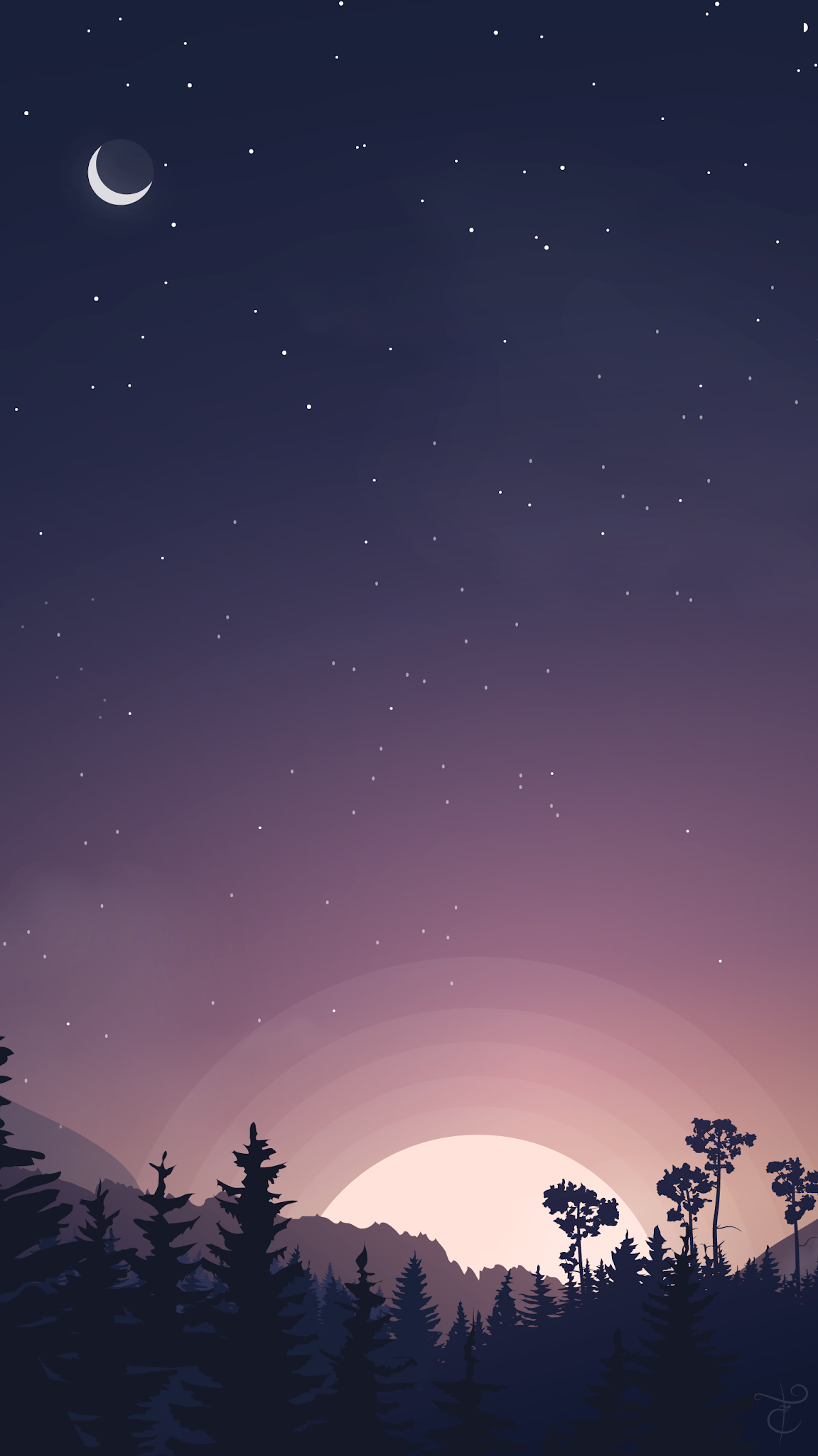 night landscape illustration mobile background wallpaper beautiful hd