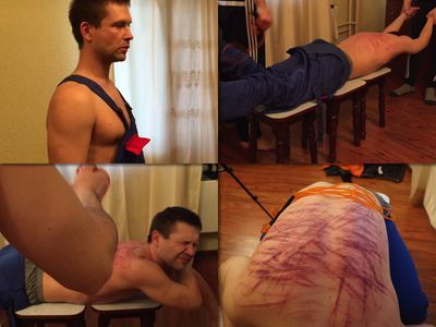 RusStraightGuys - Extreme back whipping for russian general worker 27 y.o.