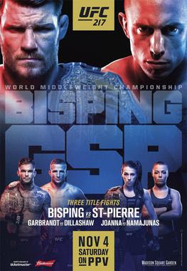 predictions for UFC 217 pay-per-view Bisping vs St-Pierre