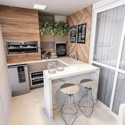 dekorasi dinding dapur konsep kayu jati