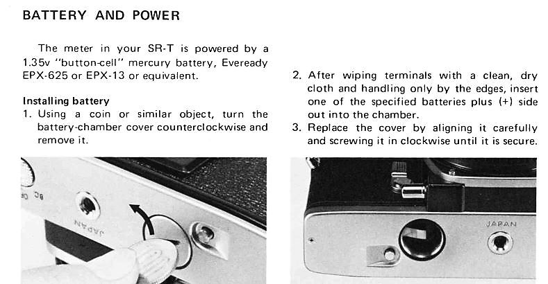 Section of page #10 of the Minolta SR-T 101x/101b/303 instruction manual