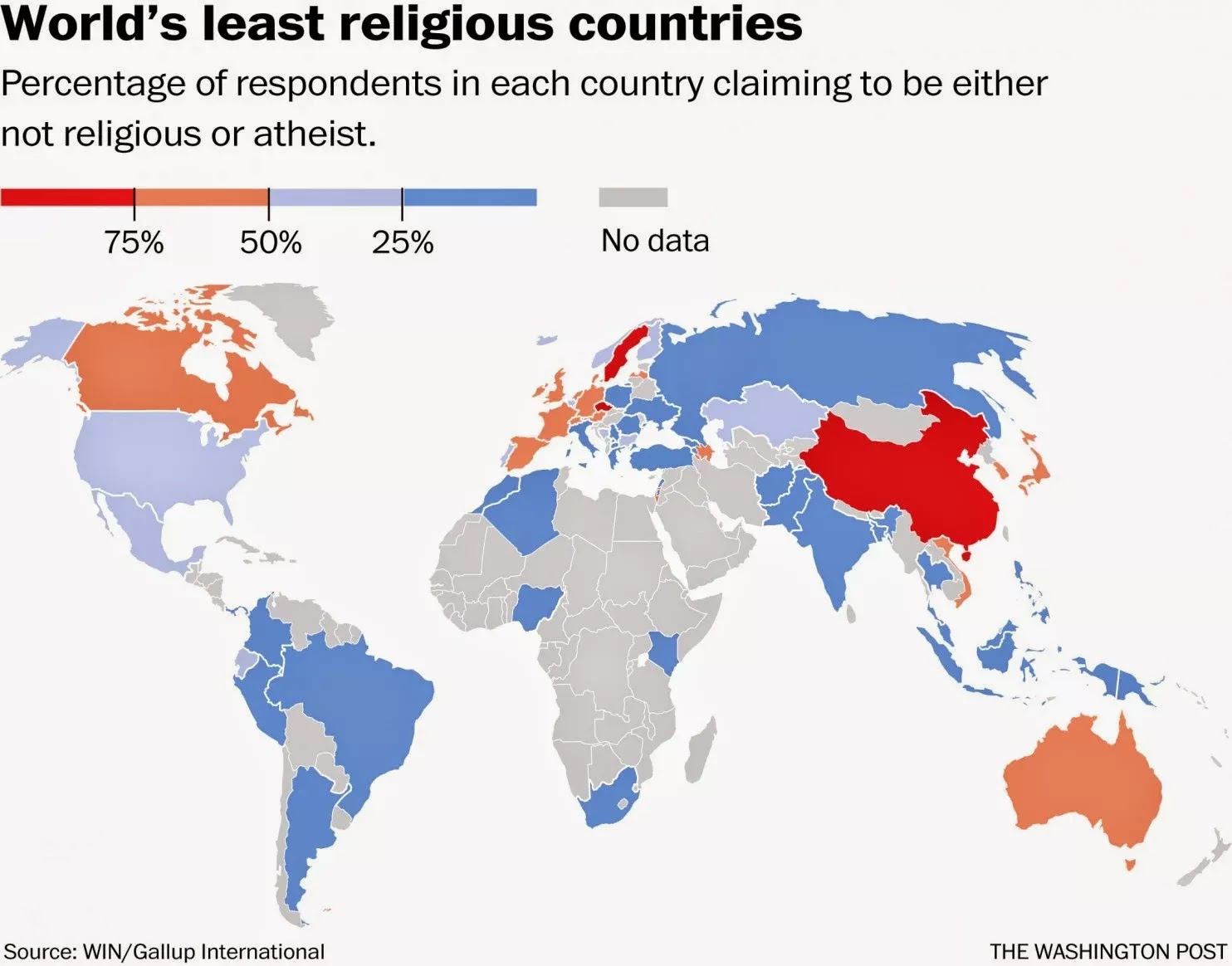 Percentage of respondents in each country claiming to be either not religious or atheist.