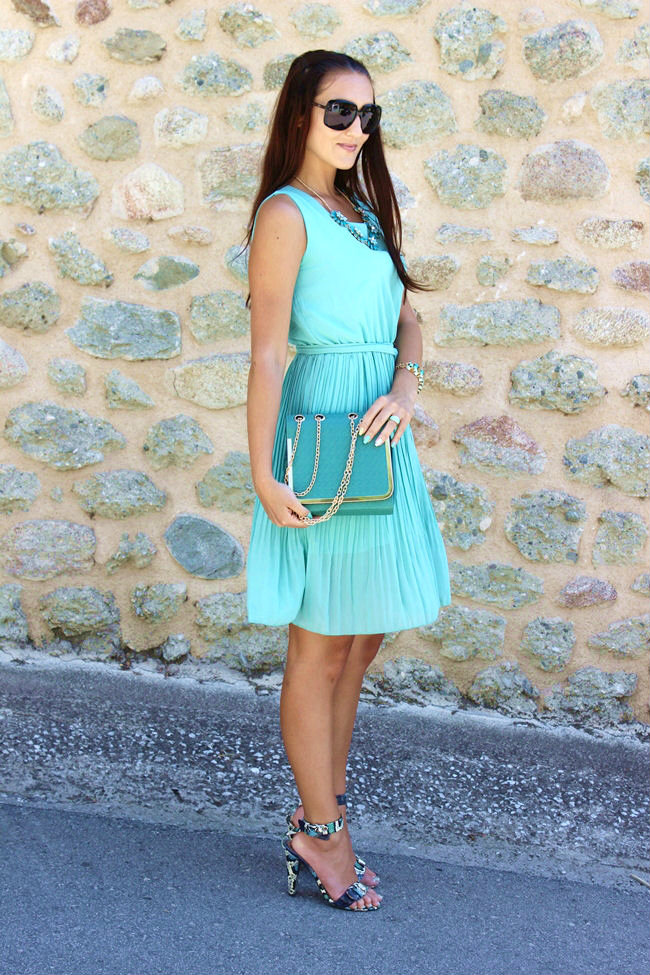 mint color chiffon dress