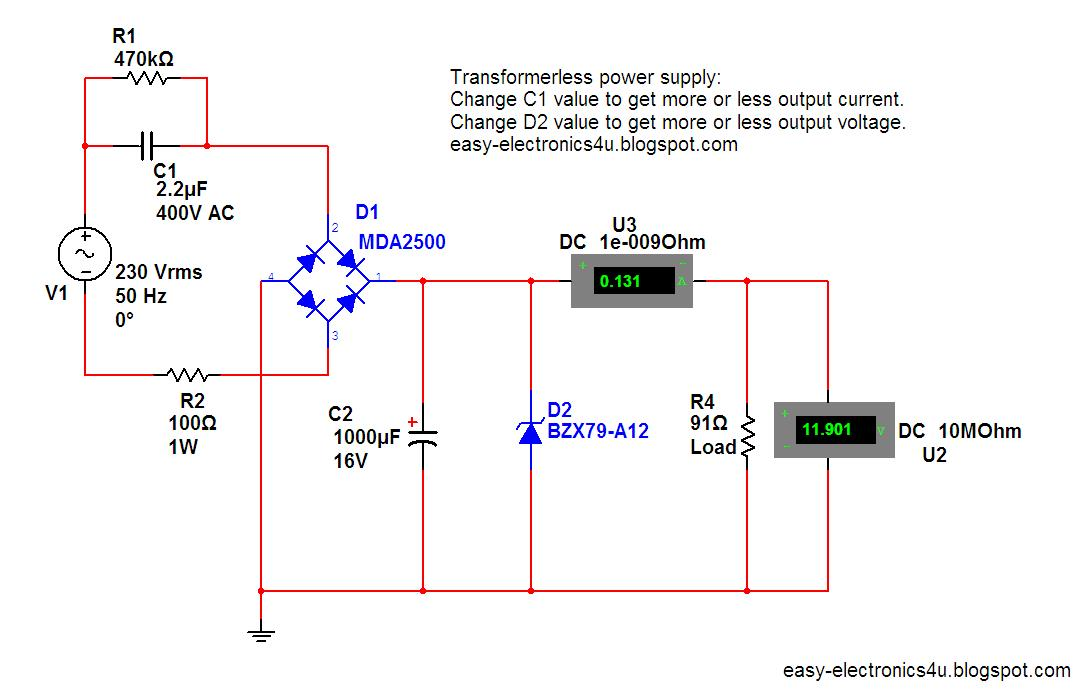 Resistive Transformer Less Power Supply Circuit Diagram