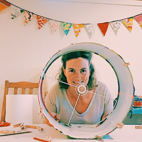 Anna Trigg in her studio at 3Chooks Lampshades