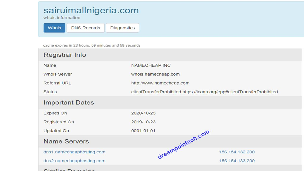 Chymall.net, sairuimallnigeria.com Whois Domain Look Up