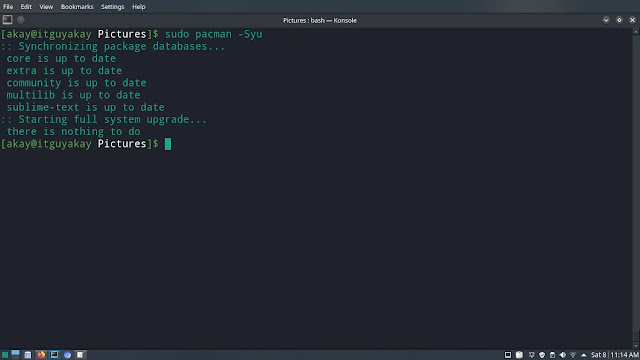 system update command in arch linux manjaro