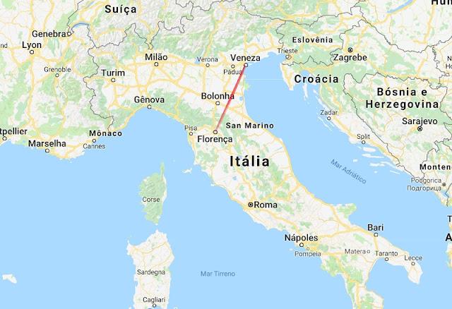 Mapa da viagem de Florença a Veneza