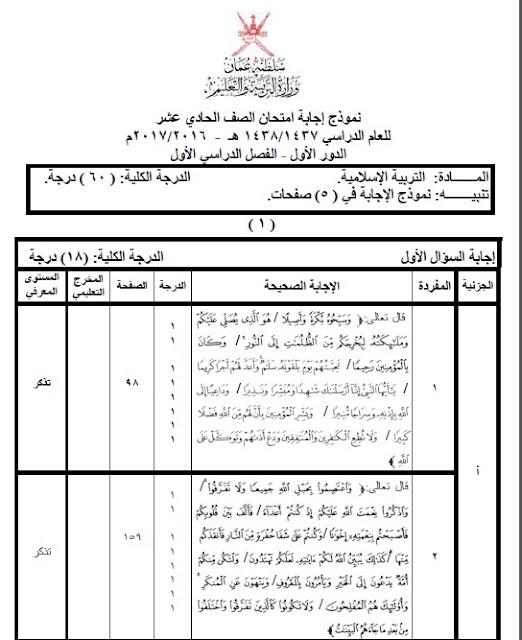 نماذج اجابات التربية الإسلامية من الصف ( 5 - 11 ) الدور الأول الفصل الأول 2016/2017 عمان