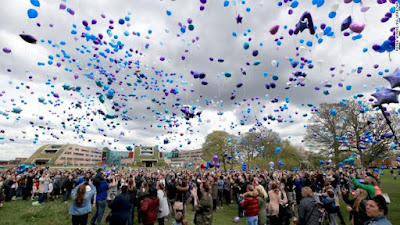"""There were emotional scenes today as Alfie Evans supporters released hundreds of balloons into the sky in memory of the """"warrior"""" toddler."""