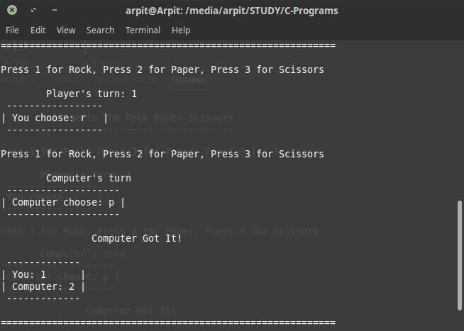 rock paper scissors game in c mini project output