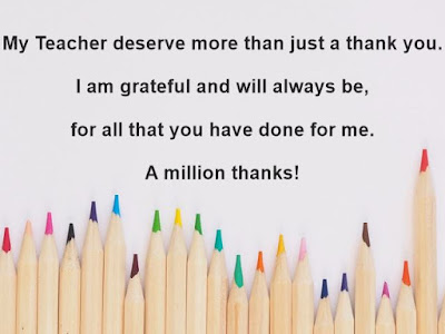 Thank you message for teacher with Pencils image