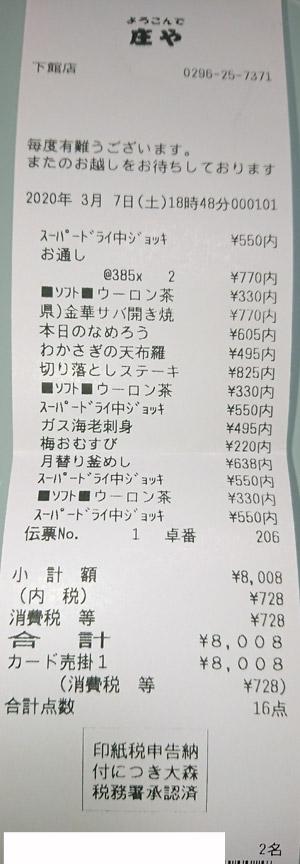 庄や 下館店 2020/3/7 飲食のレシート