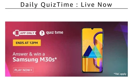 Samsung Galaxy M30s quiz answer