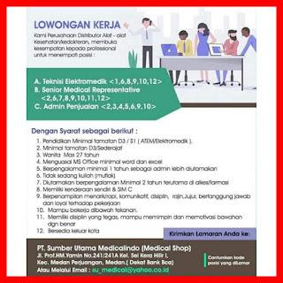 3 Posisi di PT Sumber Utama Medicalindo (MedicaI Shop)