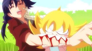 Screen z bohaterami Owarimonogatari 2