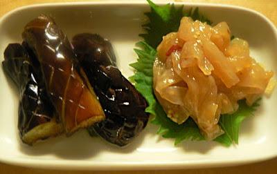 揚げナスと中華クラゲ