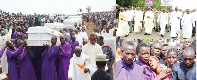 Crowd Weeps Profusely As Murdered Priests, Parishioners Laid To Rest In Benue