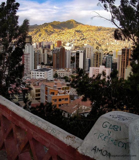 La Paz, Bolívia: Mirante de El Montículo e a Cordilheira Real