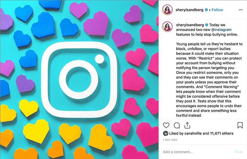 Sheryl Sandberg's IG post with artwork by @heysp