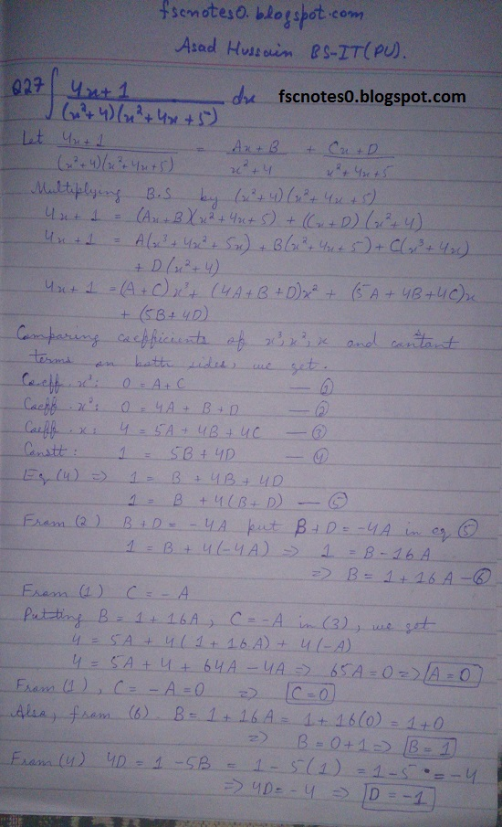 FSc ICS Notes Math Part 2 Chapter 3 Integration Exercise 3.5 question 23 - 31 by Asad Hussain 6