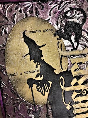 Sara Emily Barker http://sarascloset1.blogspot.com/ Halloween 3D embossing tutorial card Tim Holtz Sizzix Alterations Ranger Distress 5